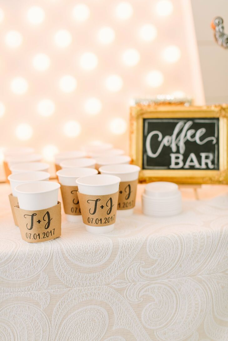 Coffee Bar with Monogrammed Sleeves