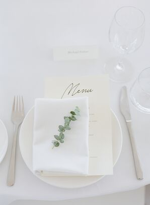 Modern White Place Settings with Paper Menu and Eucalyptus Sprig