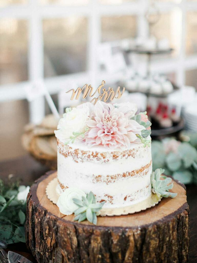 Semi-naked small wedding cake with succulents