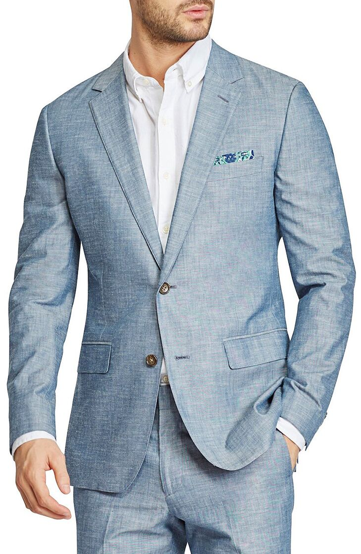 Chambray Cotton Blazer Mens Beach Wedding Attire