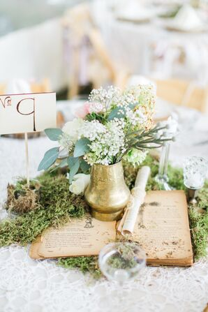 Vintage-Book Centerpiece With Gold Vase