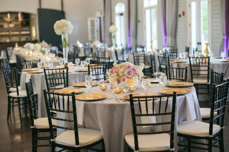 Gold Chargers and Classic Rose Centerpieces