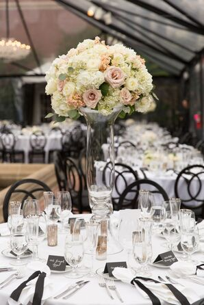 Tall Blush and Cream Floral Centerpieces With Peonies, Roses