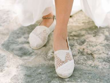 White TOMS crochet comfortable wedding shoes