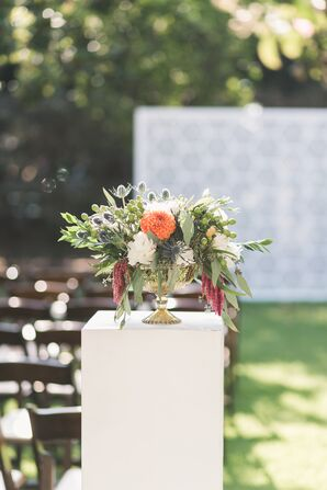 Thistle, Dahlia, Amaranthus and Eucalyptus Flower Arrangement
