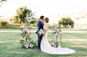 Bride and Groom Share Kiss at Wente Winery Wedding