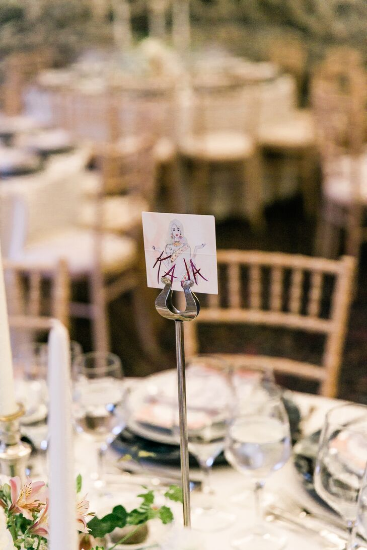 Personalized Portrait Table Number at Elegant Reception