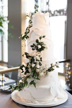 White Fondant Wedding Cake with Sugar Flowers