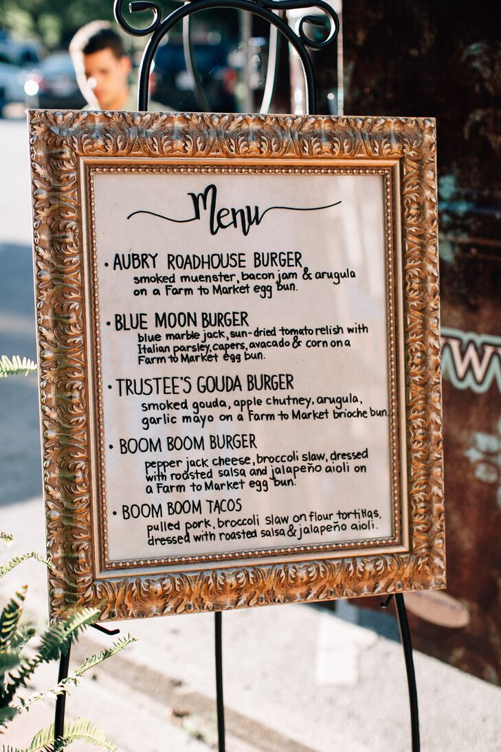 Burgers and pulled-pork tacos were on the menu at the reception at Town Square in Paola, Kansas.