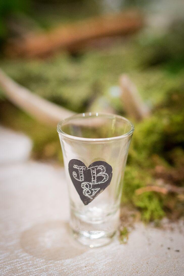 Shot Glass With Chalkboard Heart Initials