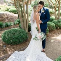 bride in KateyAnn wedding dress and groom