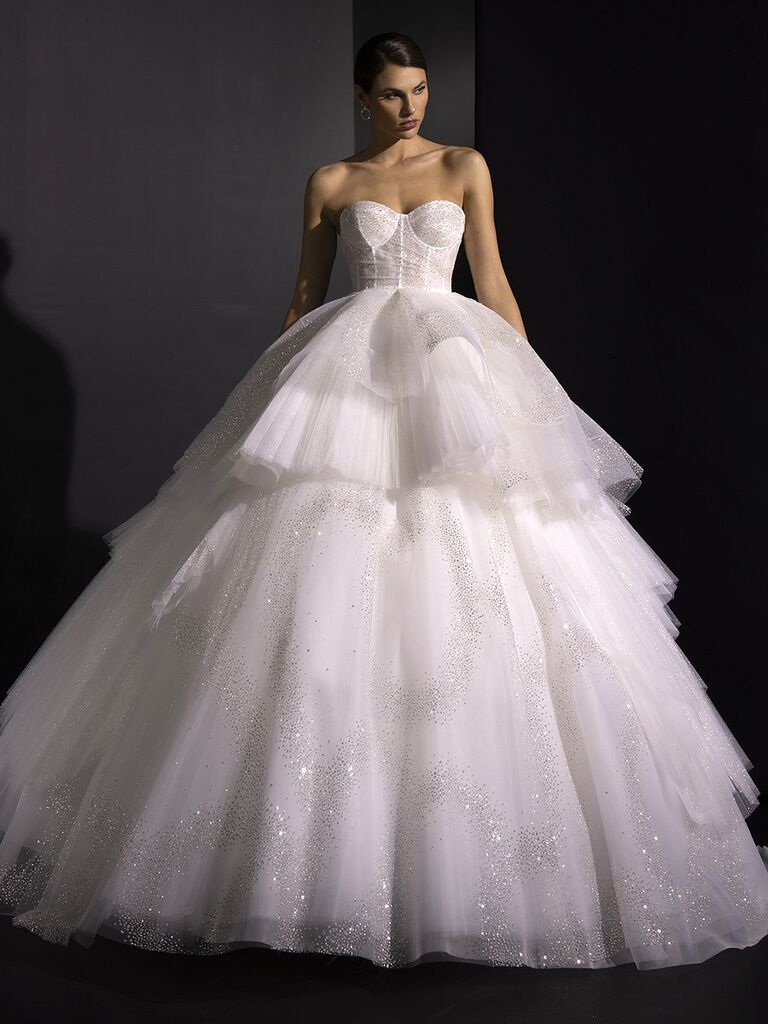 Valentini Spose Fall 2020 collection strapless layered tulle ballgown