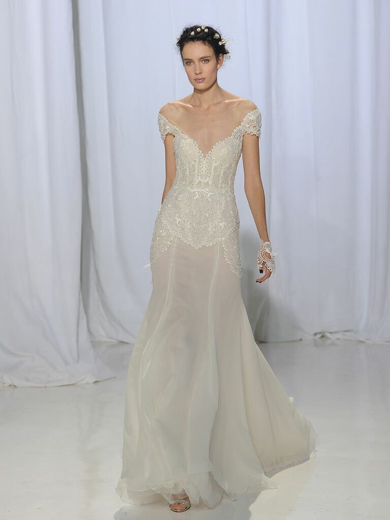Reem Acra Fall 2017 Sheer Fit And Flare Wedding Dress With Off Shoulder Lace Cap Sleeves