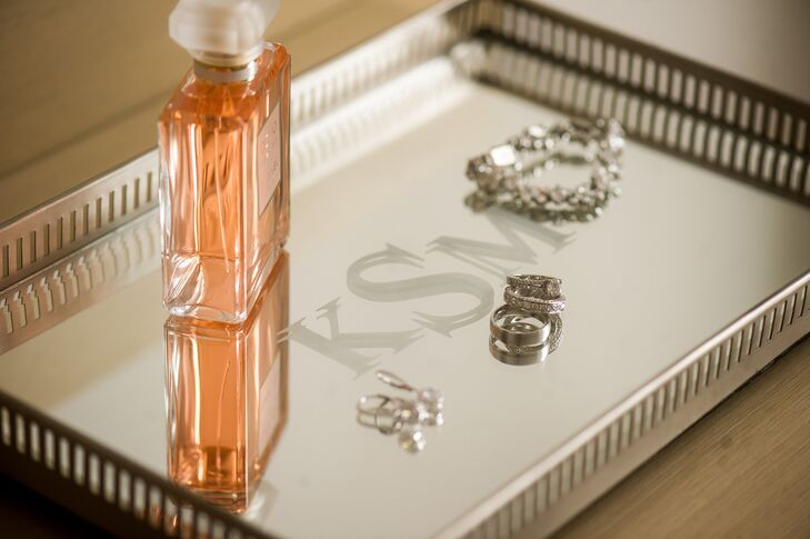 Katherine's jewelry tray, which held her accessories, featured a monogram with her soon-to-be-new initials.