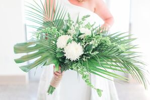 Monstera, Palm and Bells of Ireland Bouquet