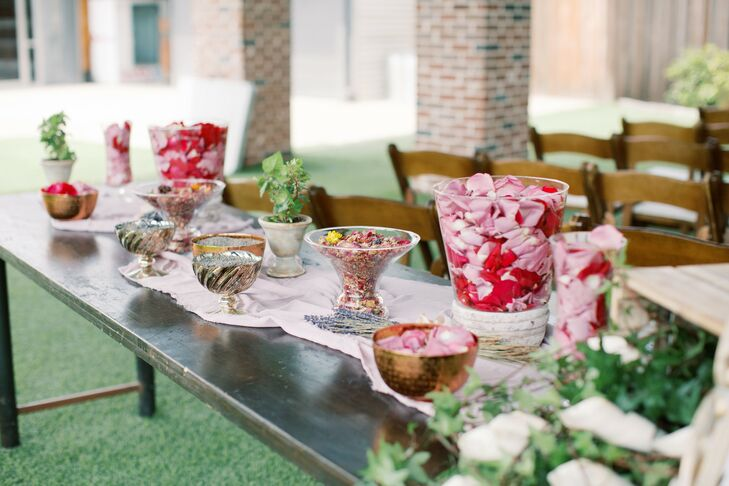 Whimsical Decorative Table with Runner, Petals and Vases