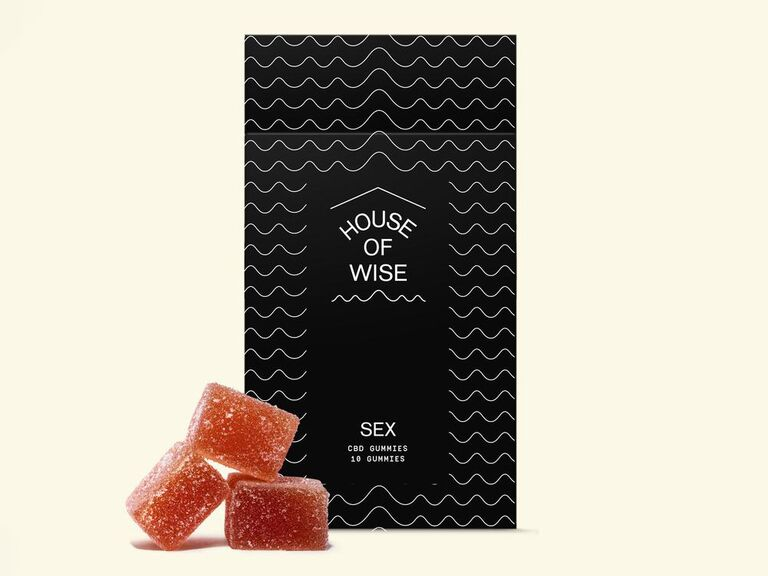 Box of House of Wise CBD Sex Gummies with black and white packaging and three red gummies stacked in front
