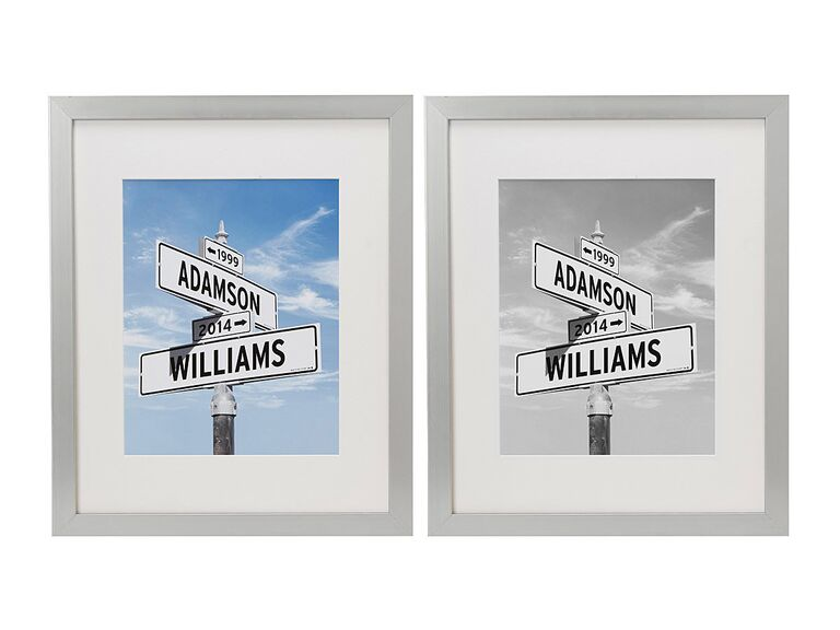 Side by side art prints of signposts commemorating couple's first meeting
