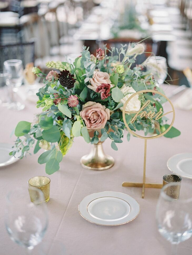 Rose-and-Eucalyptus Centerpiece at Lauxmont Farms in Wrightsville, Pennsylvania