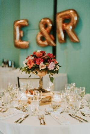 Stacked Gold Book Centerpieces