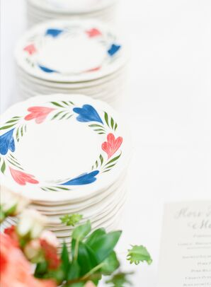 Vintage Style Plates with Red, Navy and Green Floral Print