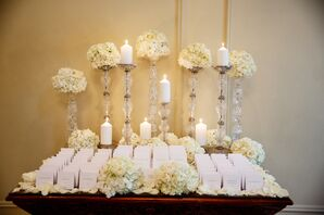 White Escort Cards With White Flowers