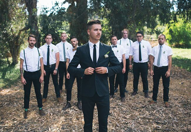 casual groom and groomsmen look | Gregory Woodman Photography | Blog.theknot.com