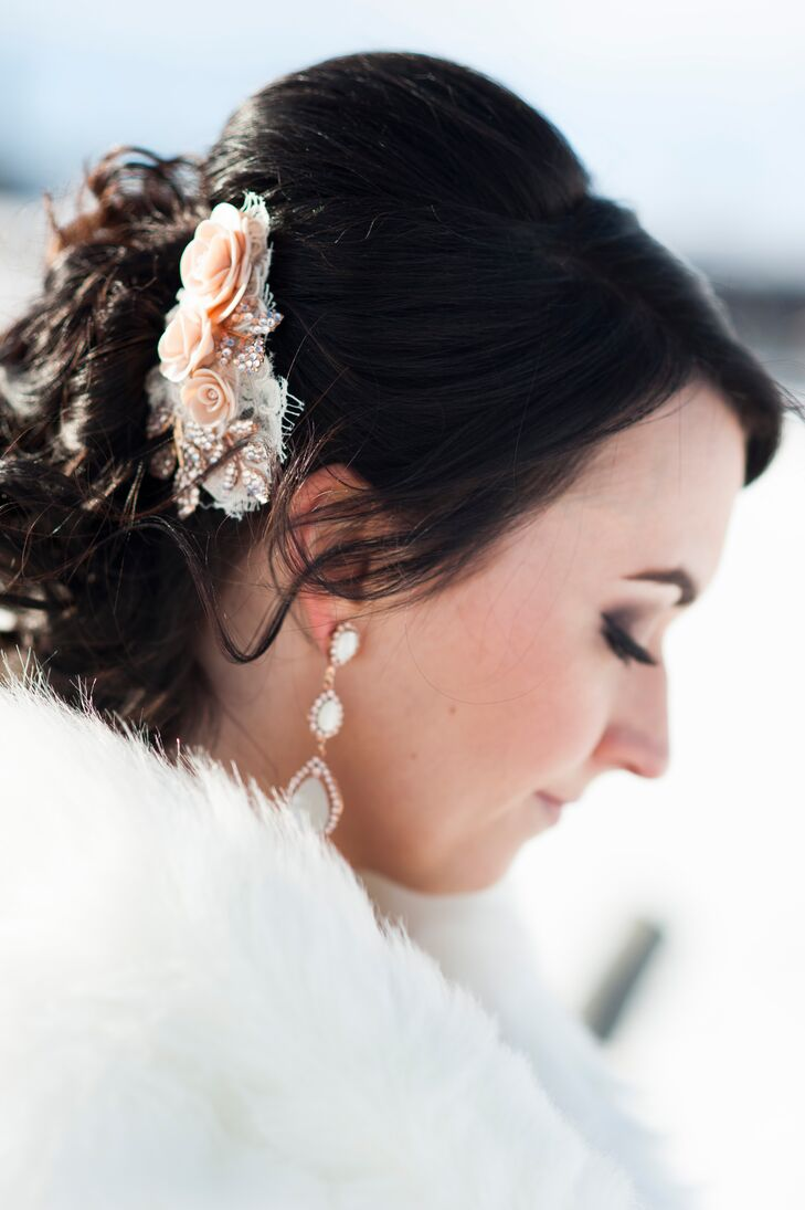 Pink Rose Bridal Hair Accessory