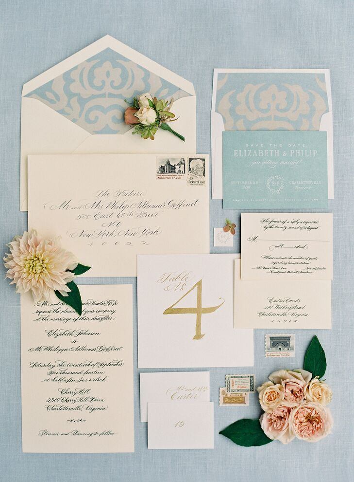 Rock Paper Scissors created this muted pastel invitation suite complete with a subtle jacquard print detail.
