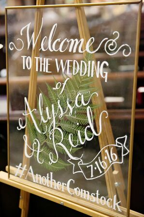 Glass Welcome Sign with Gold Edging and White Calligraphy