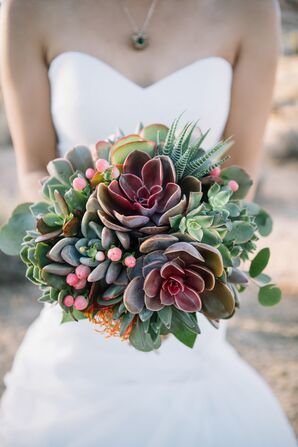 Modern, Rustic Green and Purple Succulent Bouquet