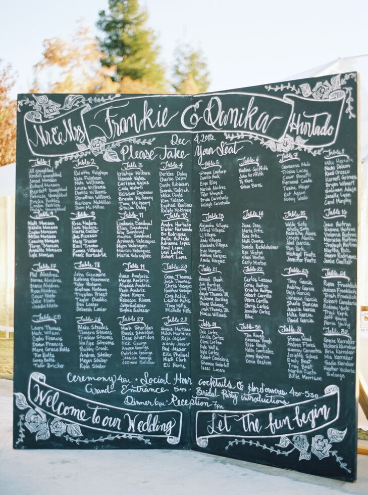 Guests found their names and seating assignments on a chalkboard displayed just outside the reception tent.