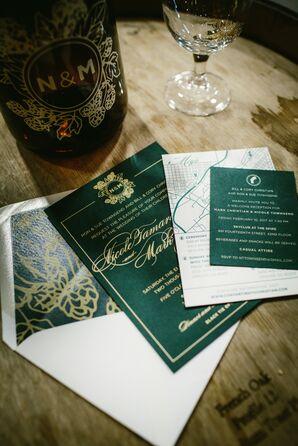 Emerald Green Beer-Inspired Invitation Suite