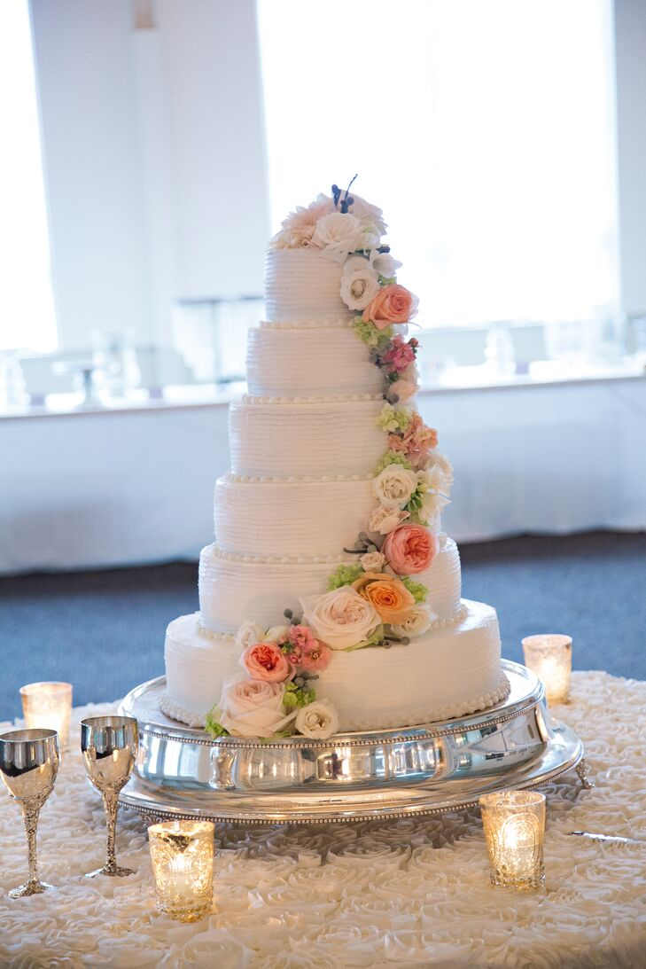 Six-Tier Ivory Wedding Cake with Garden Roses