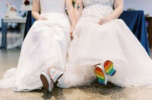 Brides Wearing Rainbow Shoes for LGBTQ+ Wedding at The Madison in Cleveland, Ohio