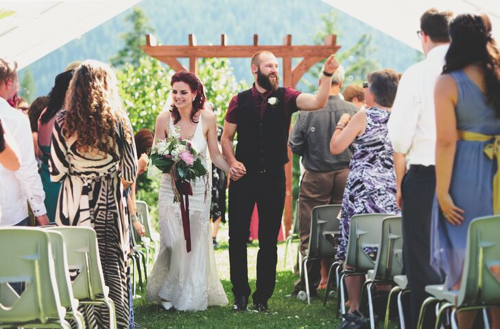 Justine and Sylvan were married outdoors with a beautiful summer view of the surrounding mountains and forests in British Columbia, Canada.