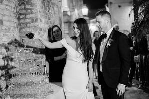 Elegant Couple with Classic Champagne Tower