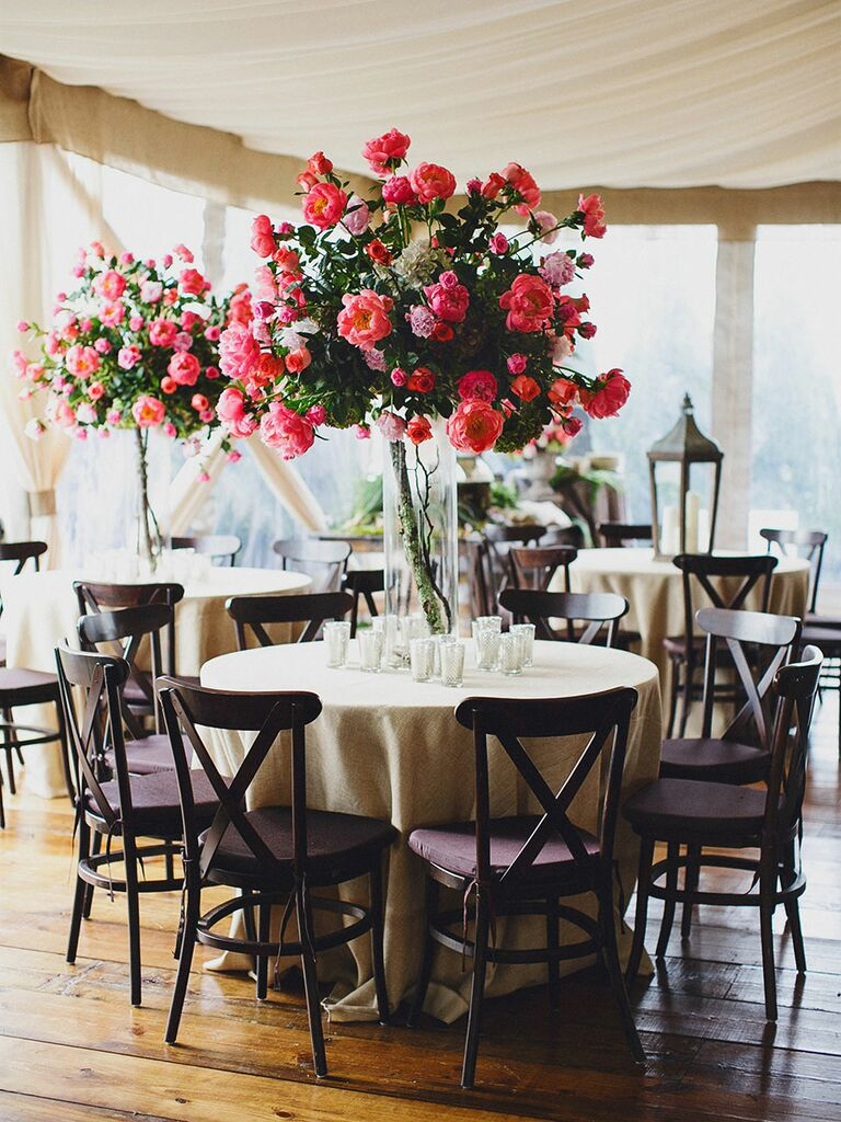 Tall reception table centerpieces with cabbage roses