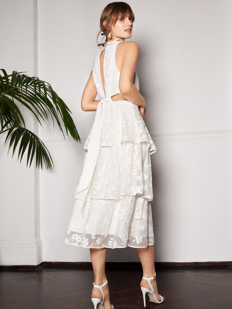 Whistles Wedding 2019 Bridal Collection tiered floral embroidered tea-length cocktail wedding dress