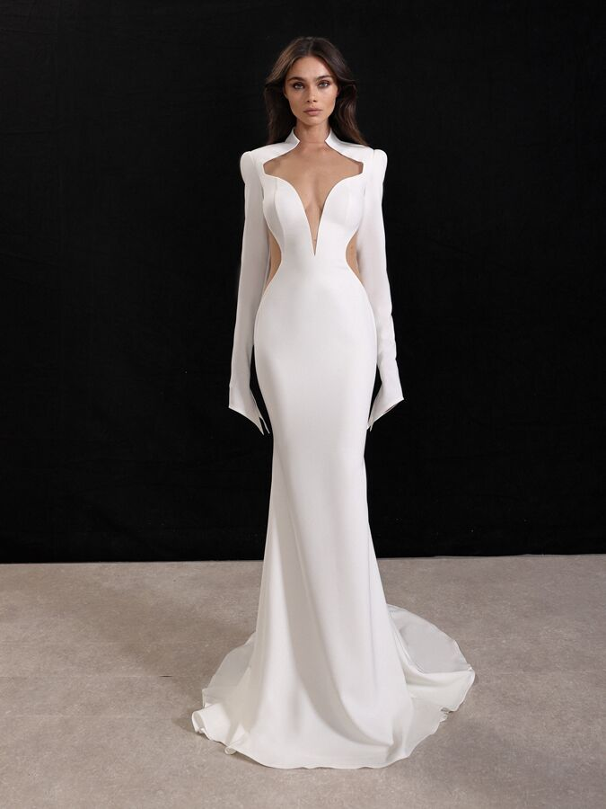 Gala by Galia Lahav crepe wedding dress with long sleeves