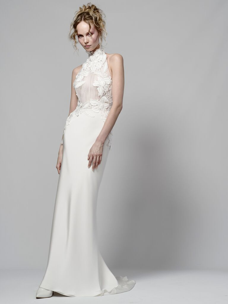 Elizabeth Fillmore Spring 2019 high-neck wedding dress with floral appliqué