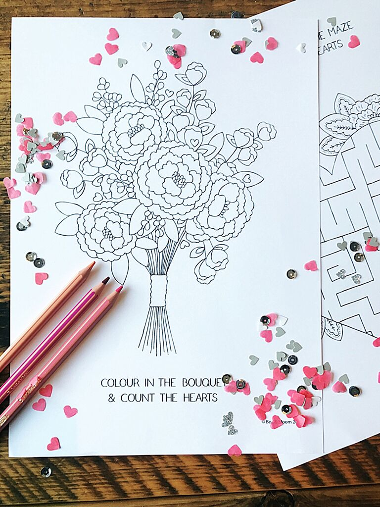 Printable free coloring sheets for a wedding activity for kids