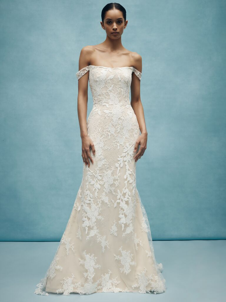 Anne Barge Spring 2020 Bridal Collection off-the-shoulde lace wedding dress
