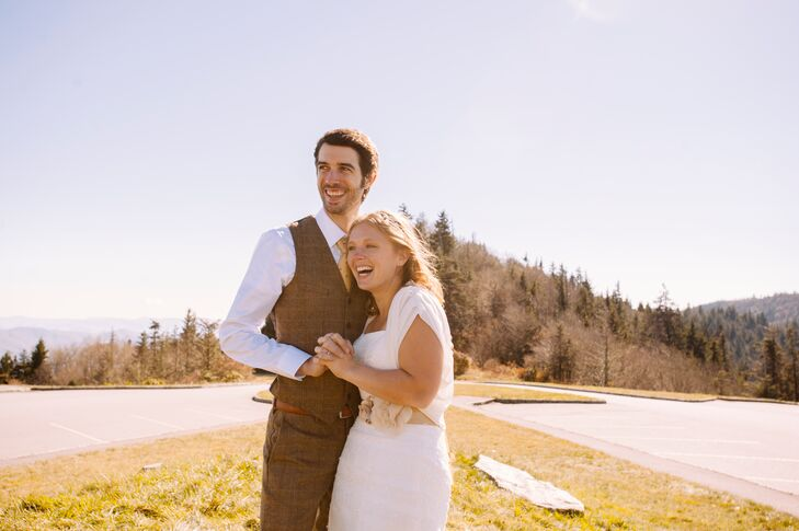 The natural setting of Timberwolf Creek, with it's stunning views of Maggie Valley, rolling hills and acres of lush forest, created a scenic backdrop for the couple's photos.