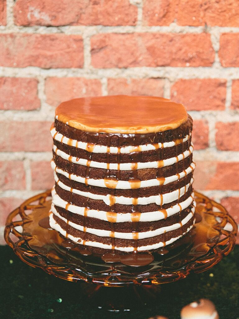Vanilla and chocoalte drizzled naked wedding cake