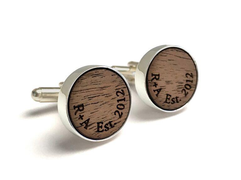 Wood cufflinks 5 year anniversary gift for him
