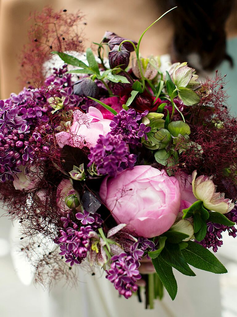 Purple Wedding Bouquet With Lilac And Peonies