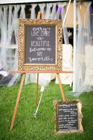 DIY Chalkboard Reception Sign With Gold Frame