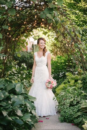 Lace Cap-Sleeve Wedding Dress