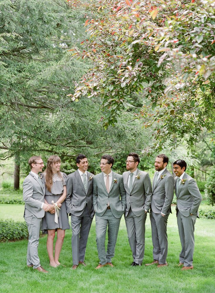 """Paul's """"groomsmen"""" party included one lucky lady, his SISTER? She donned a short grey dress to match his five other groomsmen."""